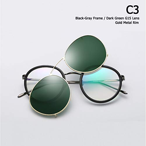 Taiyangcheng Runde Metall polarisierte Sonnenbrille Eyewear Clip On Lens abnehmbare Sonnenbrillen,C3