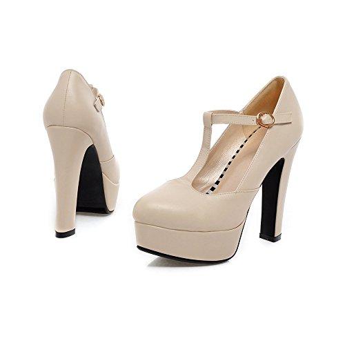 XDGG DONNA Ultra High con la moda scarpe T stazione Buckle impermeabili della piattaforma singoli pattini beige