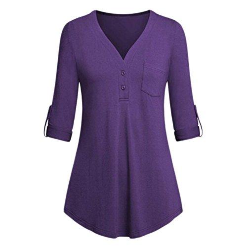 Split Pocket V-Ausschnitt 3/4 Roll-up Ärmel-Knopf-Oberseiten Beiläufige Blusen-Hemden Crop Tops Oberteile(Lila,XX-Large) (Superwoman Arten Von Halloween Kostüme)