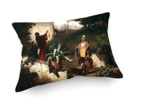 weewado Carl Spitzweg - Die Jugendfreunde - c. 1855-60x40 cm - Sofa-Kissen aus Satin - Kunst,...