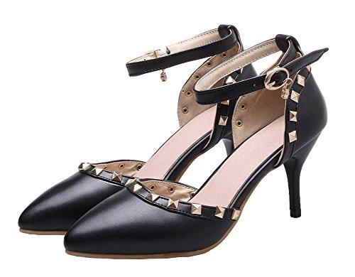 AgeeMi Shoes Donna Luccichio Fibbia Puro Tacco Alto Scarpe A Punta Ballet-Flats Nero
