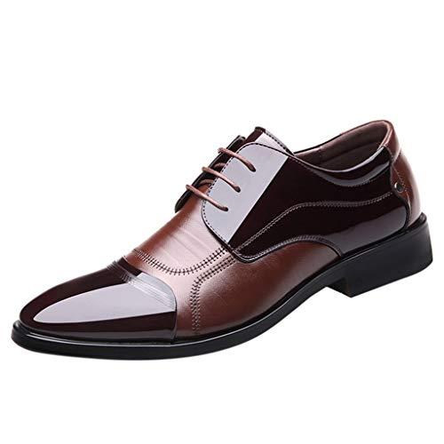 Vamp Kleid (Yazidan Herren Modische Shiney PU Leder Vamp Lace Up Atmungsaktive Schuhe Kleid Schuhe Lederschuhe für Herren)