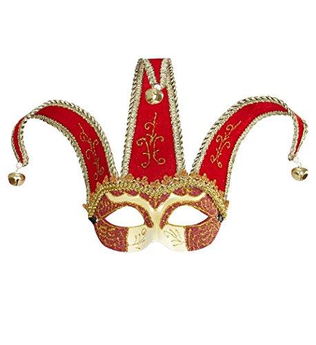 WIDMANN 04712–Máscara Veneciano Domino de Jolly Bufón Joker, Rojo/Dorado, Talla única