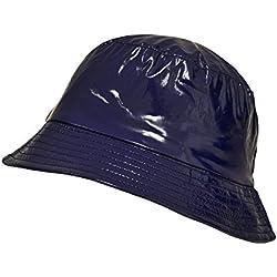 TOUTACOO, Gorro para la Lluvia en Vinilo, Sombrero Impermeable 03-Azul Marino