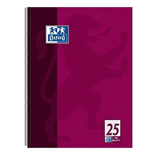 Oxford 100050355 Collegeblock, A4+, liniert/weißer Rand, 80 Blatt, 90 g/m² Optik Paper, 5-er Pack, violett