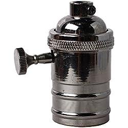 Splink Antiguo Portalámpara E27 lámpara antigua bombilla de Edison de cabeza de comparación de bricolaje base con Interruptor Giratorio