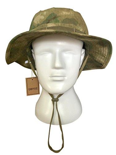 Taktische Boonie Hut, QMFIVE Camouflage Abgerundete Hut Fischer Sonnenschutzkappe für Outdoor Airsoft Paintball Klettern Camping (FG)
