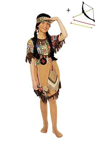 ,Karneval Klamotten' Set Kostüm Indianerin Mädchen Kleid inkl. Pfeil + Bogen Kinderkostüm Western-Party Geburtstag Fasching Karneval Größe 128 (Cowboy Und Indianer Motto Kostüme)