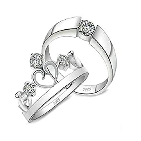 AnaZoz (Free Engarving) Fashion Jewelry Simple Silver Plated Engagement Wedding Rings CZ Rings Princess Cut 5mm US Size