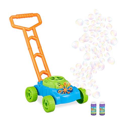 Relaxdays 10024939 Seifenblasenmaschine Rasenmäher, Spielzeug zum Schieben, Seifenblasen für Kinder, Batteriebetrieb, blau-grün