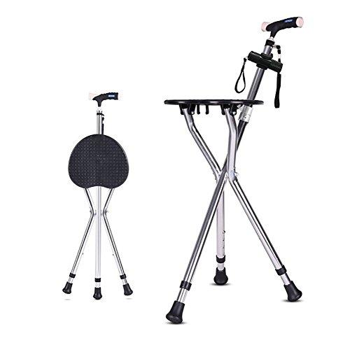 LAGZ Teleskop Stock Stuhl Für Die Älteren Dreibeinigen Zusammenklappbaren Stock Stick Behinderung Medizinische Hilfe Krücken mit Sitz Faltbare LED-Licht