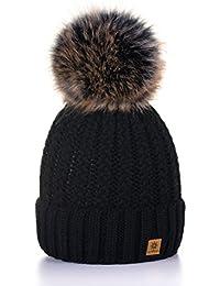 e9c6cb3045616c MFAZ Morefaz Ltd Wurm Winter Strickmütze Mütze Damen Kristalle Kiesel mit  Große Bommel ...