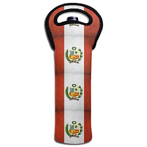 (Peru Vintage Flag Wine Bottle Tote Bag Carrier Bag with Handle)