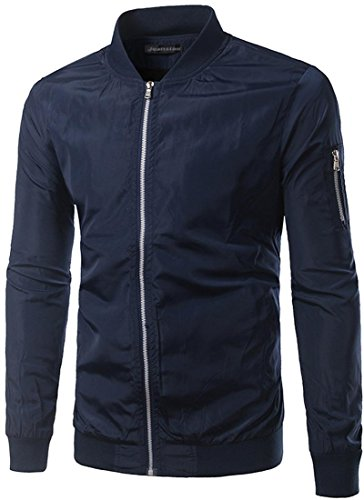 Jeansian Mode Hommes Vestes Casual Jacket Slim Fit Men's Baseball Jacket Windproof Outdoor Jacket Coat 9531 Navy