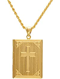 Memoir Gold Plated Bible Shaped Openable Book Design Chain Pendant Locket Necklace For Men Women