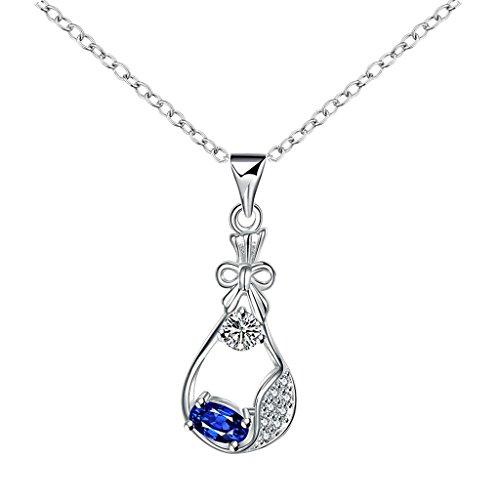 amdxd Kristallhalskette Strasssteinherzen, versilberte Damen necelace Silber Blau CZ treaseure Tasche Anhänger Silber Kette -