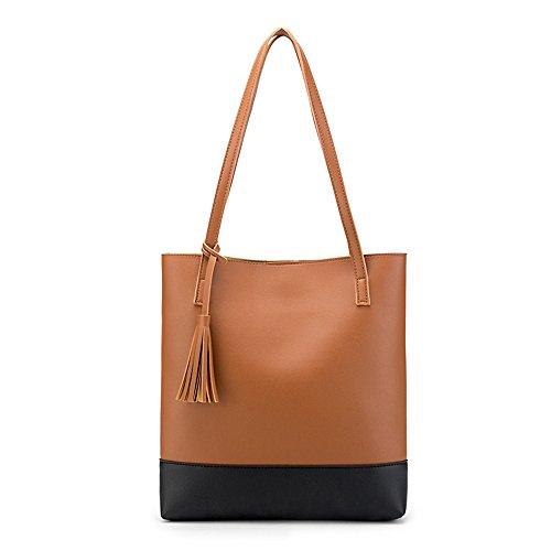 Handtaschen Damen Sunday Umhängetaschen Hobo PU Leder Geldbörse Top-Griff Taschen Tote Große Schultertaschen Handtaschen 30.5cm(L)*6cm(W)*33cm(H) (33cm, Braun) (Stil Handtasche Schulter)