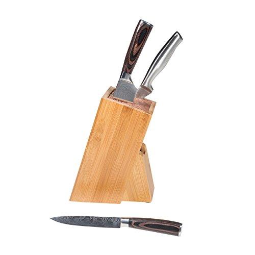 Mack Universal Messerblock im schlichten Holzdesign Bambus, mit herausnehmbarem Kunststoffeinsatz