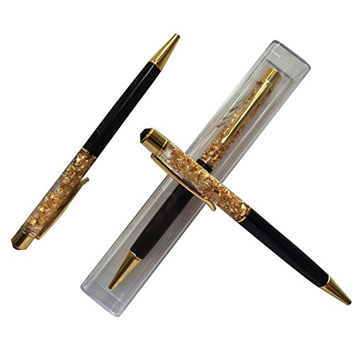 MengRan Chaton Bling Bling Crystal-Penna a sfera sottile Stardard 24K Gold Top Diamond, Black