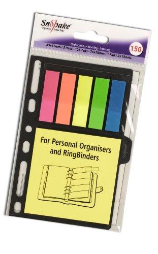 Snopake - Lengüetas de índice para agendas y carpetas (150 lengüetas de 45 x 12 mm y 1 bloc de notas adhesivas de 76 cm, 12 unidades)
