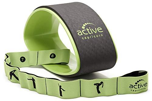 Yogaset mit Yogarad und Yogaband in Grün - robustes Yoga Set mit stabilem Rad und Widerstandsband für Asanas Dehnen Stretchen Ganzkörpertraining für Einsteiger Fortgeschrittene
