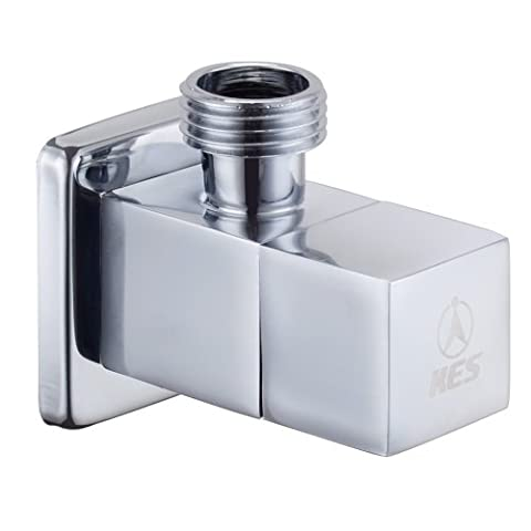 KES K112A1 Brass Quarter Turn Angle Valve G1/2¡± Inlet and Outlet Modern Square, Polished Chrome