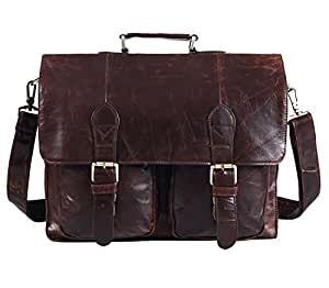 Polare Natural Leather 14'' Removeable Laptop Compartment Business Briefcase Messenger Bag For Men