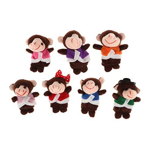 KESOTO 7pcs Niedliche Affen Familie Fingerpuppen Set für Kinder, Tiere Handpuppen Spielzeug, Fingertiere Rollenspiele für Kinder Geschenk Kindergeburtstag