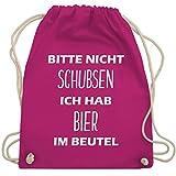 Turnbeutel - Bitte nicht schubsen ich hab Bier im Beutel - Unisize - Fuchsia - WM110 - Turnbeutel & Gym Bag