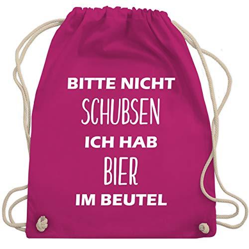 Festival Turnbeutel - Bitte nicht schubsen ich hab Bier im Beutel - Unisize - Fuchsia - WM110 - Turnbeutel & Gym Bag