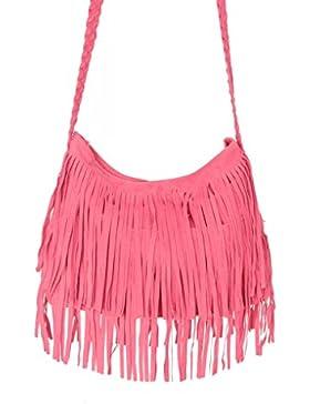 Modische Damen Franse Tasche Schultertasche Umhängetasche Mattiert Kuriertasche Einkaufstasche Cross Body Bag