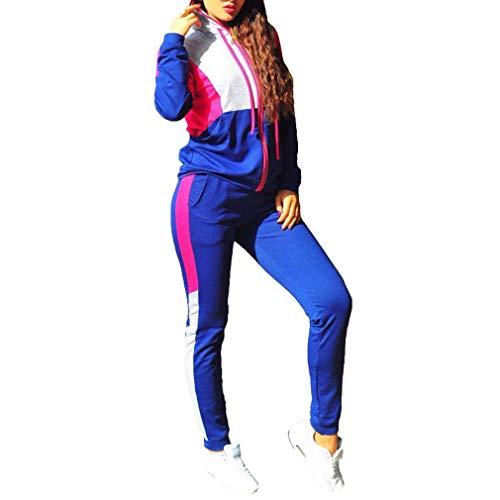 Mxssi Frauen hit Farbe Patchwork gestrickt Hoodied + Pants 2 stück Kleidung Sets Casual Patchwork trainingsanzüge Blau XL - Für Von Sport-kleidung Frauen Adidas