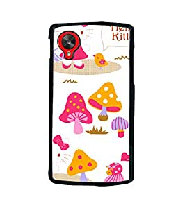 printtech Kitty Mushroom Back Case Cover for LG Google Nexus 5::LG Google Nexus 5 (2014 1st Gen)