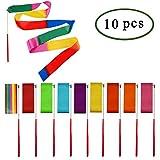 E-Goal 10PCS/Set 4M Gymnastikband Tanzband Turnband Rhythmikband mit rutschfest Stabin -10 Farbe