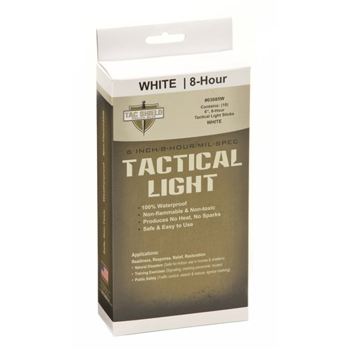 TAC SHIELD Tactical 8 Hour Light Stick (10-Pack), White