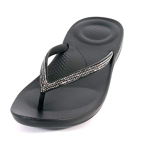 644a942a9baa FitFlop™ Women s Iqushion™ Sparkle TPU Slip On Flip Flop Black-Black-8