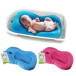belupai Baby Bath Pad Newborn Baby Foldable Baby Bath Tub Pad Chair Shelf Newborn Bathtub Seat Infant Support Cushion Mat Bath Mat(Blue)