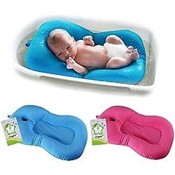 belupai Alfombrilla de baño para bebé recién nacido, plegable, para bañera, asiento de bañera y asiento de bebé(Azul)