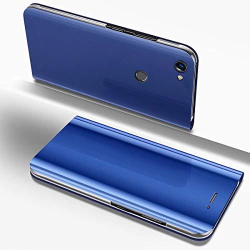 Robinsoni für Huawei P8 Lite 2017 Spiegel Hülle Lederhülle Mirror Clear View Standing Hülle Leder Spiegel Schutzhülle PU Brieftasche Flip Case Cover Wallet Tasche Etui Hülle Huawei P8 Lite 2017,Blau