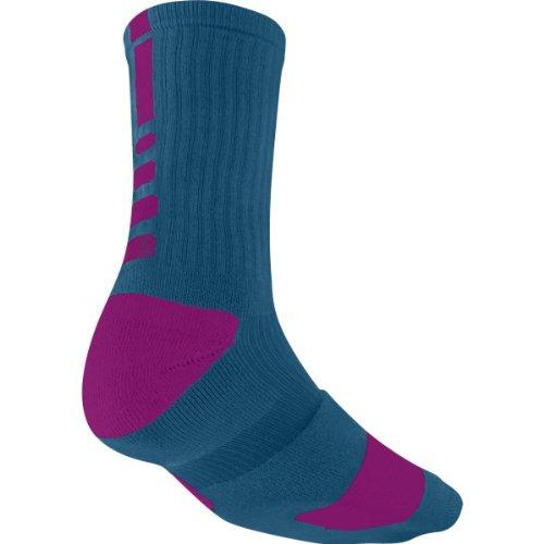 Nike Crew Socks Hyperelite Basketball Green Abyss/Bright Magenta/Bright Magenta