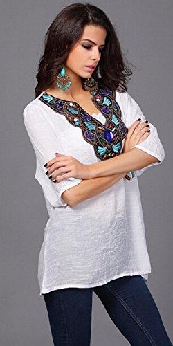 QIYUN.Z Les Femmes En Coton a Manches 3/4 Broderie Collier Melange V Cou Shirt Loose Blouse Blanc