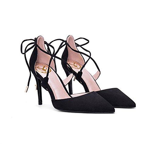 YIXINY Escarpin BD-773 Chaussures Femme Sexy Élégant Conception De Sangles Croisées Talon Mince Pointu Mariage 9 CM Talons Hauts Noir, Rouge