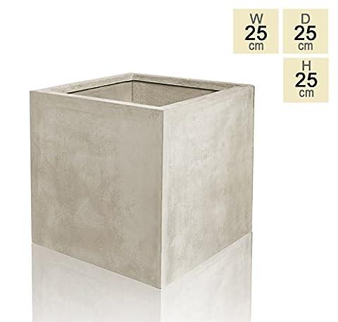 Stone Fibrecotta Cube Planter - Small 25cm - 12
