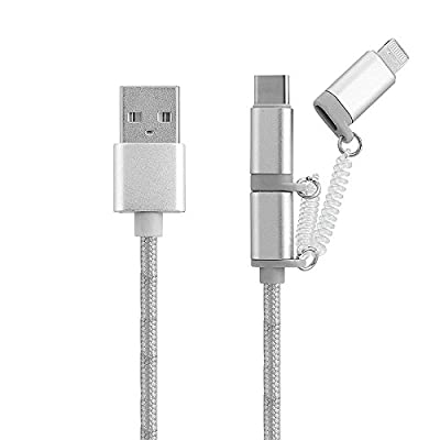3 in 1 iPhone Lightning 8 pin,Micro USB & Type C - Fast Charging Nylon Braided cable for iPhone 7/7Plus/6s/6/SE/5s/5 for iPad Mini,iPad 4G,iPod Touch 5G,Nano 7G Samsung Galaxy/HTC/Nokia/Nexus/LG/Motorola/PS4 Controller & more- Silver