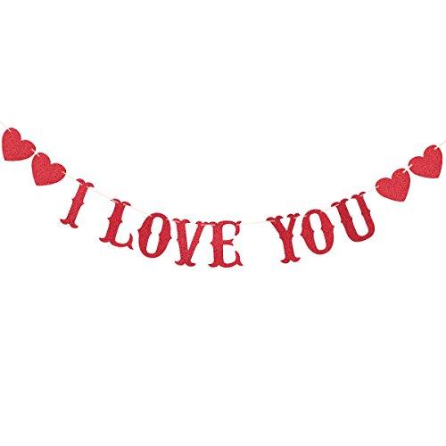 ng Banner Girlande 2M Papier Buchstaben Wimpelkette Hochzeit Party Dekorationen (I LOVE YOU) ()