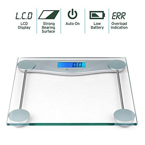 Etekcity Digitale Personenwaage Körperwaage Gewichtswaage Digitalwaage aus Sicherheitsglas, 5kg-180kg, Slim Design, mit Großem LCD-Display, Inkl. Maßband -