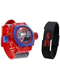 Lemonade Pack Of 2 Kids Favourite Spiderman 24 Character Projector Band & Digital Led Bracelet Band For Kids,...
