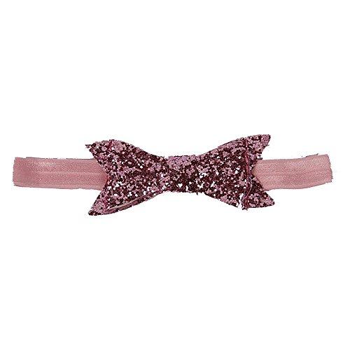 Glittery Bow Headband - Baby Pink