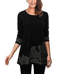 DJT Tee-Shirt longue Blouse Pull-over Sweatshirt Imprime Veste Femme