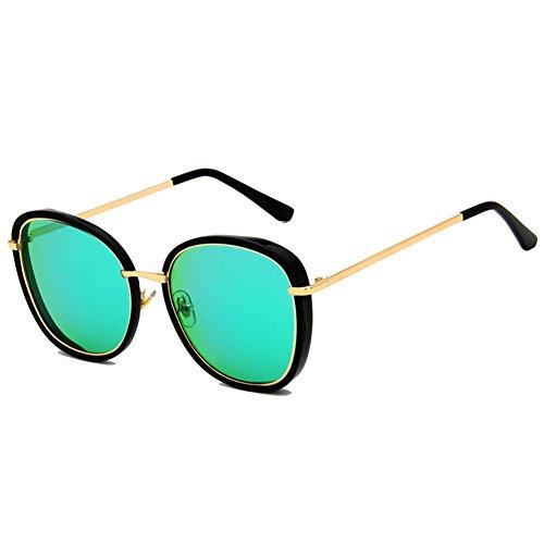 Z-P Grils Classic Retro Fashion Metal Frame Bright Color Film Round Lens Reflective UV400 Sunglasses 60MM